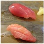 鮨 そえ島 - ◆上:赤身・・キレイな赤身で美味しい。 ◆下:大トロ・・これもいい脂を感じ好み。