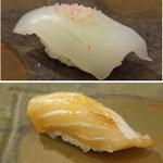 鮨 そえ島 - ◆上:やり烏賊・・普通に美味しい。 ◆下:鰆のづけ・・鰆のヅケは珍しいですが、少し筋を感じ好みではなかったですね。