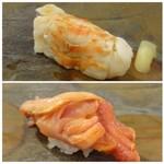 鮨 そえ島 - ◆上:車海老・・この握り方面白いですね。甘みのある車海老で美味しい。 ◆下:赤貝・・ヒモも一緒に握ってありますので、旨みが足されます。