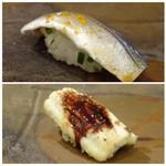 鮨 そえ島 - ◆上:コハダ・・軽めの〆加減。 ◆下:穴子・・フワフワ食感で、ツメもいいお味。