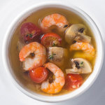 一瑳 - 海老とマッシュルームのガーリックオイル焼き