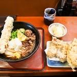 讃歌うどん はんげしょう - 肉ちくわ天ぶっかけ & トッピング(鶏天ぷら、半熟玉子天ぷら)