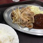 レストラン ポパイ - しょうが焼き+ハンバーグ950円