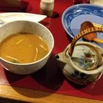65789916 - 鰻つけめん・鰻たれ漬け煮卵増し-肝吸いスープ割