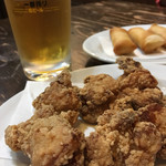 地養 - 唐揚げ、ビール、春巻き
