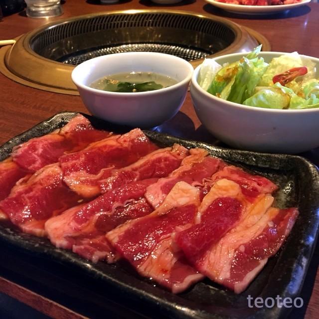 焼肉勝っちゃん 尼崎アマドゥ店 - 石焼ビビンバセットのバラと、スープと、サラダ