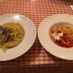 ラ・スイートパスタ - 茹で上げパスタ、2回目。これ以外にも調理済みのペペロンチーノをいっぱい食べちゃった…(._.)