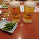 鳥せい - ビールと枝豆