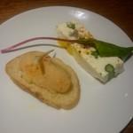 65876988 - ズワイ蟹と筍のブランダード、マグロ・アスパラのクリームチーズのテリーヌ