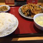 中華定食 笑飯店 - 豚肉四川炒め  小皿+定食  720円
