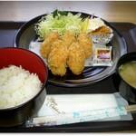 菊一商店 - H29.3 カキフライ定食 なんとこれがワンコイン
