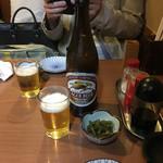 鳥月焼きとり店 - 中瓶ビールが480円