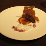 legno - 塩キャラメルソースを添えたショコラテリーヌとレモンとライムのグラニテ フランボワーズ チュルス