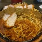 65905648 - 大盛の焼きスパ。トンカツ2枚とスパゲティ1.5倍だそうです。食べかけですいません。