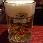 焼鳥 城 - 生ビールキリン一番搾り450円