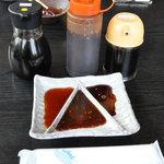 千力 - タレ3種(ポンズ、味噌、醤油)