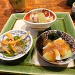 志蕎庵 江月 - 季節の三種盛り