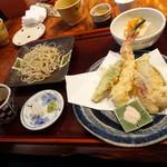 志蕎庵 江月 - 蕎麦三昧膳の、蕎麦豆腐、季節の天ぷら、せいろ