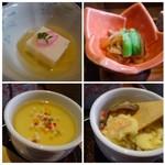 鮨 有楽 - ◆共通:小鉢は「ごま豆腐」と「切り干し大根の煮物」。切り干し大根は甘めのお味付で好み・ ◆共通:茶碗蒸し・・海老や椎茸などが入り、いいお味でした。