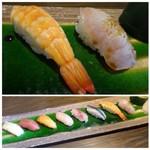 鮨 有楽 - 「特上にぎり懐石膳」のにぎり。 ◆握り9貫・・シャリは一般的な品で、小ぶりですがネタがきれいですこと。 ◆海老と金目鯛。金目は皮目を炙ってあり、美味しいそう。