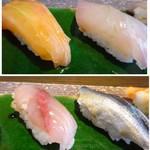 鮨 有楽 - ◆鮭とカンパチの腹身。 ◆??と鰯。
