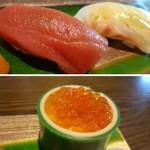 鮨 有楽 - ◆まぐろと鯛・・中トロに近い品で美味しい鮪だそう。 ◆いくら・・小粒ですけれど、タップリ。普通に美味しいそうな。