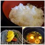 鮨 有楽 - ◆ご飯は普通。 ◆赤だしには「ワカメ」と「巻き麩」入り。 ほかの品がキップのいい出し方ですのに、これだけが器の半分と少量なのが面白い。