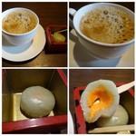 鮨 有楽 - ◆デザートはメロン大福。 ◆珈琲も量タップリで、意外に(失礼m(__)m)美味しい。