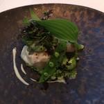 65924824 - 帆立貝のミ・キュイ キヌアと菜の花のサラダ プランタニエール
