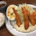 サル食堂 - 限定25食の海老フライ定食は¥890ですよ(≧∀≦)