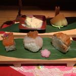 八代目儀兵衛 - 桜鱒の押し寿司、桜鯛、煮穴子の握り