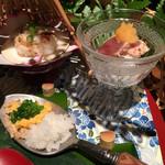 八代目儀兵衛 - 焼蛤のおむすび・カツオのたたきの丼・菜の花の丼