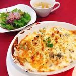 パティスリー パルテール - 山菜・きのこ・小松菜のゴマ和えドリア