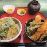 天ぷら酒房まあちゃん - 白黒ハーフ天丼 (ディナー 1,280円・ランチ 1,100円 税別)。