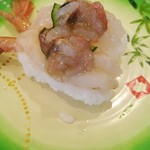 回転寿しクリッパー - 料理写真:噴火湾産ぼたんえびのえび味噌のせ 410円