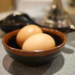 黒豚料理 あぢもり - 卵はスープに溶いて