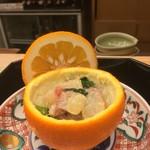65969294 - 平舘 鮟鱇の酢味噌和え 橙釜