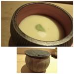 山沙商店すし芳 - ◆茶碗蒸し・・この器ステキ。 茶碗蒸しのお味もいいですし、チーズが入っていてお味のいいアクセントに