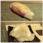 山沙商店すし芳 - ◆上:真鯛の昆布〆・・軽い〆加減で鯛の旨みを感じます。 ◆下:ガリは甘みをあまり感じず酢が強め。
