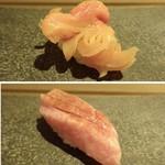 山沙商店すし芳 - ◆上:赤貝・・普通に美味しい。 ◆下:トロ・・脂が強くなく食べやすい。