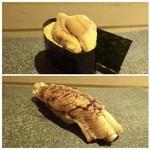 山沙商店すし芳 - ◆上:唐津の赤うに・・粒がそろっていてキレイですこと。もちろん美味しい。 ◆下:対馬のゴールデン穴子。これも美味。