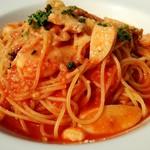 ESCRIBA - 海老とえりんぎのトマトソーススパゲッティ