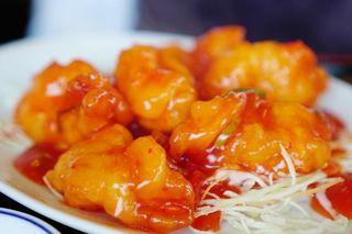 萬福 - 大正海老のチリソース炒め定食 980円