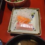 小魚阿も珍 - サラダ、お刺身、お味噌汁