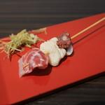 朝市さかば - 串さしみ(日替りの鯛、フグ、タコ)@200円