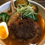 奥芝商店 - 旭川亭の燻製ハンバーグカリー+旬野菜