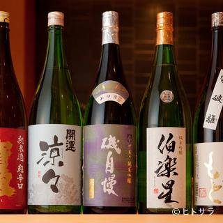 寿司を引き立ててくれる日本酒は、通好みのラインナップ