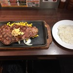 いきなり!ステーキ - リブロースステーキ・428g(3005円) ライス大(200円)