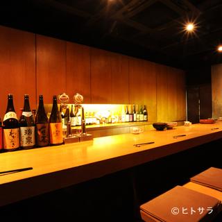カウンター席でゆっくりと、京都ならではの味わいを堪能