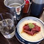 平野屋 - 鮪の山掛け+お酒(常温)